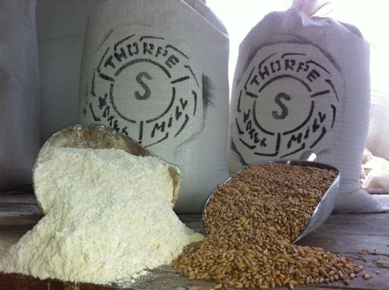 Stone ground spelt flour at Thorp Farm